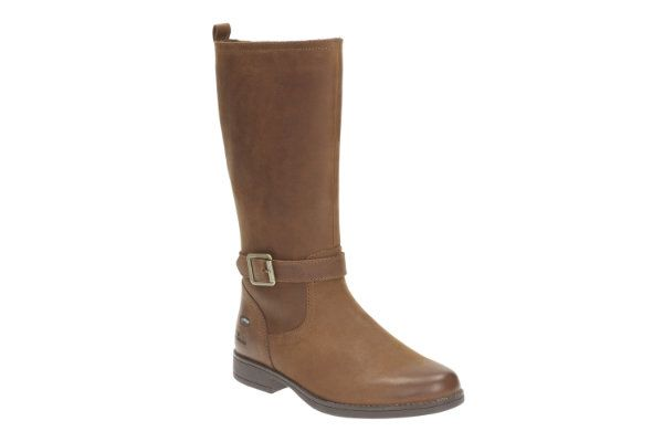Clarks Samimy GORE-TEX Jnr F Fit Tan boots