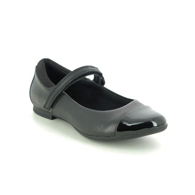 Clarks School Shoes - Black leather - 495576F SCALA GEM Y