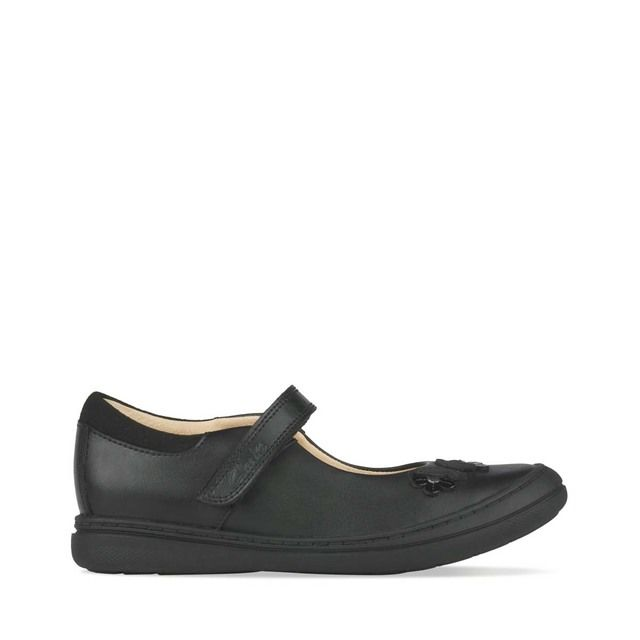 Clarks Scooter Daisy K F Fit Black leather school shoes