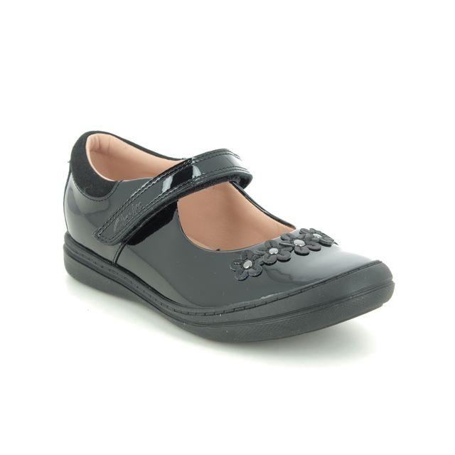 Clarks School Shoes - Black patent - 516087G SCOOTER JUMP K