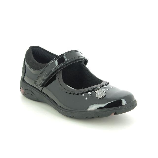 Clarks School Shoes - Black patent - 555435E SEA SHIMMER K