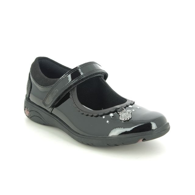 Clarks School Shoes - Black patent - 555438H SEA SHIMMER K