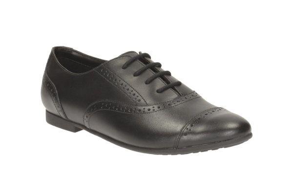 Clarks Selseycool Bl F Fit Black school shoes