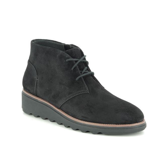 Clarks Wedge Boots - Black Suede - 387074D SHARON HOP