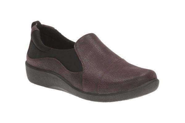 Clarks Sillian Paz D Fit Aubergine comfort shoes