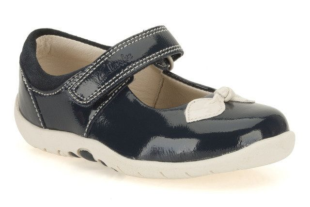 Clarks Softly Bow Fst F Fit Navy patent multi first shoes