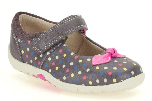 Clarks Softly Dotty F E Fit Grey multi first shoes