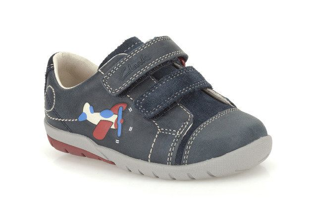 Clarks Softly Jet Fst F Fit Navy first shoes