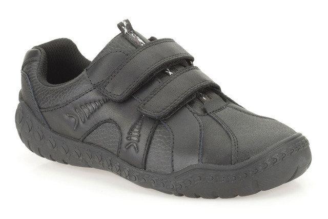 Clarks Stompo Roar Jn F Fit Black school shoes