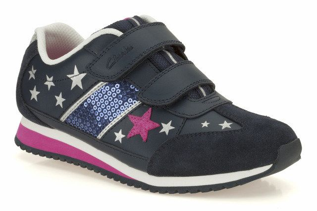 Clarks Super Glitz In E Fit Navy trainers