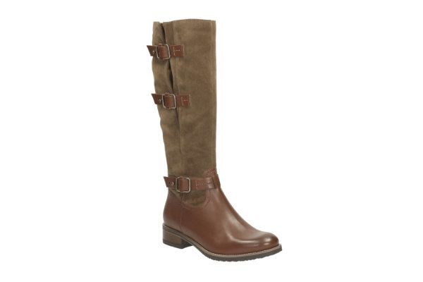 Clarks Tamro Marina D Fit Brown multi long boots