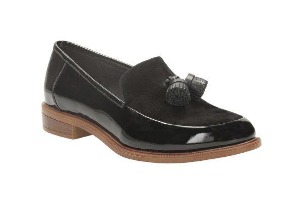Clarks Taylor Spring D Fit Black patent loafers