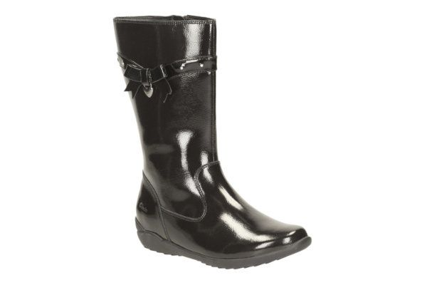 Clarks Ting Chic Inf F Fit Black patent boots