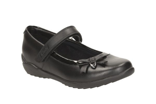 Clarks Ting Fever Jnr F Fit Black school shoes