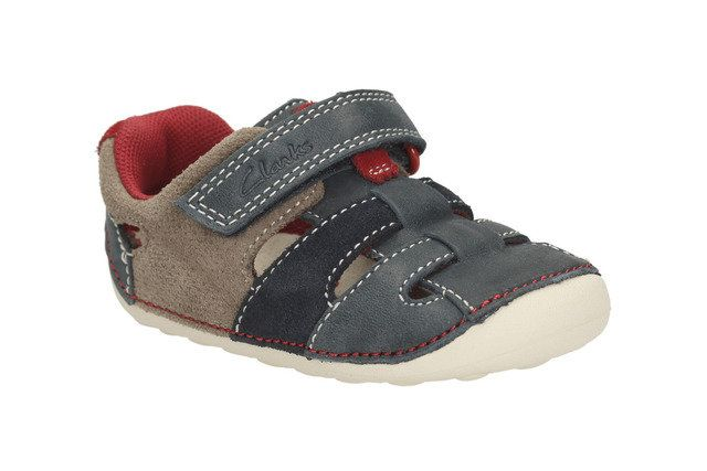 Clarks Tiny Artie G Fit Navy multi first shoes