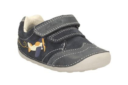 Clarks Tiny Liam F Fit Navy first shoes