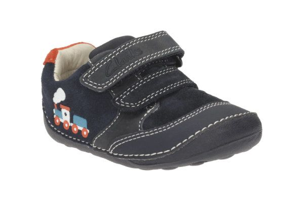 Clarks Tiny Tom F Fit Navy first shoes
