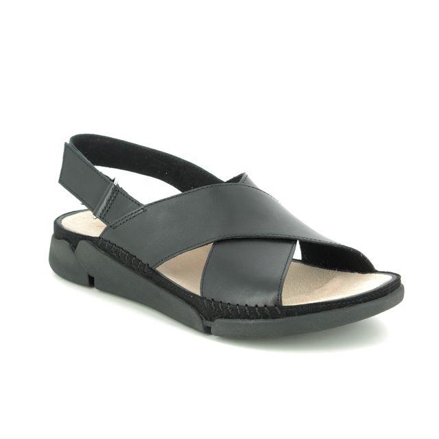 Clarks Tri Alexia D Fit Black leather Comfortable Sandals