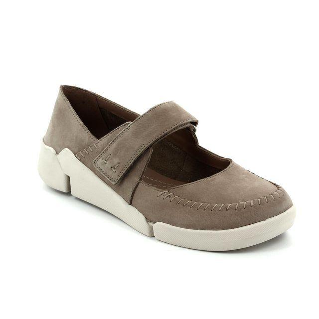 Clarks Tri Amanda D Fit Taupe nubuck comfort shoes