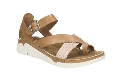 Clarks Tri Ariana D Fit Tan multi sandals