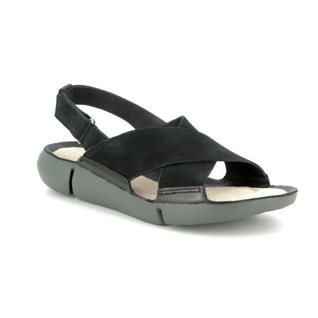 Clarks Tri Chloe D Fit Black nubuck sandals