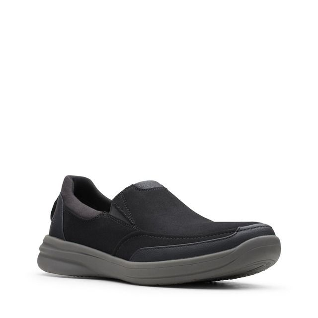 Clarks Stepstroll Edge G Fit Black leather Slip-on Shoes