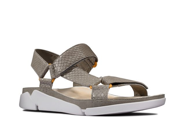 Clarks Tri Sporty D Fit Grey leather Comfortable Sandals