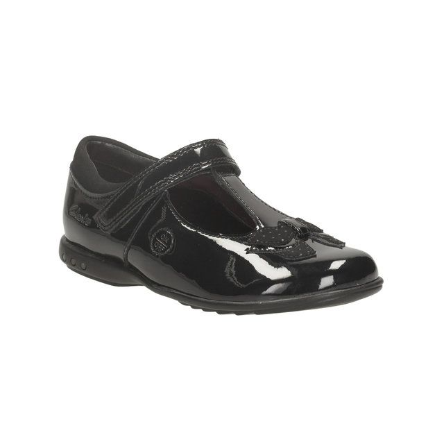 Clarks Trixi Bell Inf F Fit Black patent everyday shoes