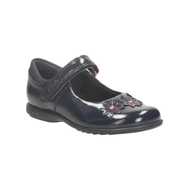 Clarks Trixi Beth Inf F Fit Navy patent everyday shoes