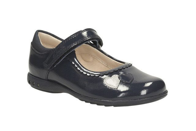 Clarks Trixi Heart G Fit Navy patent everyday shoes