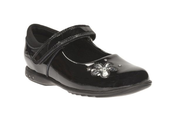 Clarks Trixicandy Inf E Fit Black patent school shoes