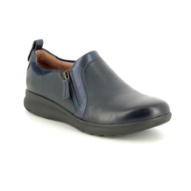 Clarks Comfort Slip On Shoes - Navy Leather - 383555E UN ADORN ZIP