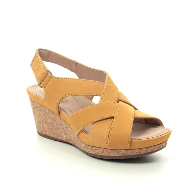 Clarks Wedge Sandals - Yellow Nubuck - 496544D UN CAPRI STEP