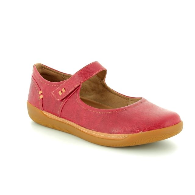 Clarks Mary Jane Shoes - Red - 3218/94D UN HAVEN STRAP