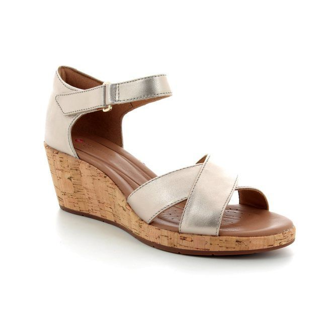 Clarks Wedge Sandals - Gold - 3232/54D UN PLAZA CROSS