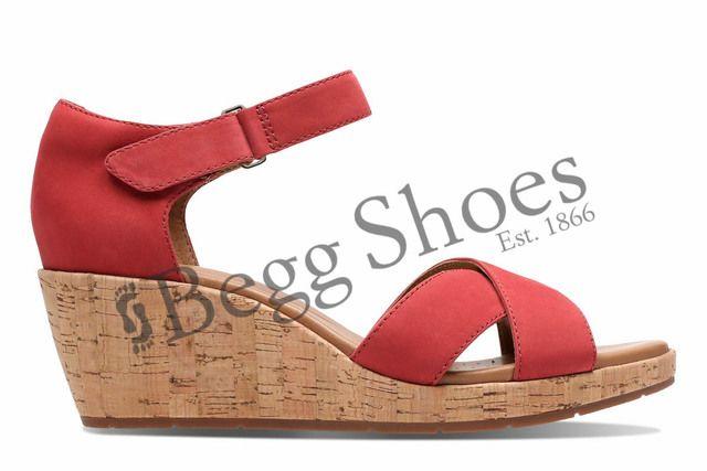 Clarks Wedge Sandals - Red - 3232/74D UN PLAZA CROSS