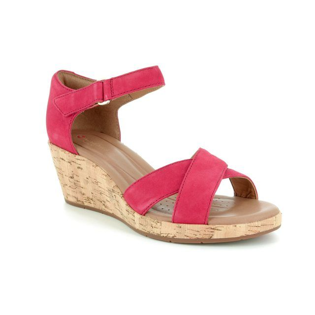 Clarks Wedge Sandals - Red - 3232/74D UN PLAZA CROSS