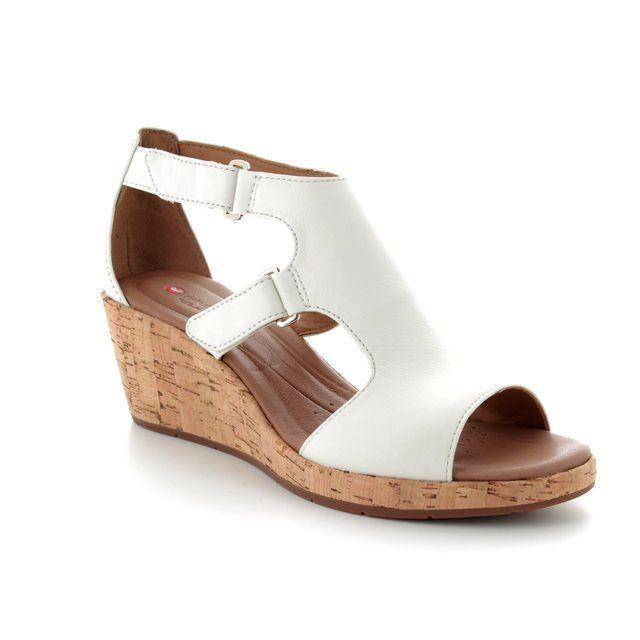 Clarks Wedge Sandals - White - 3326/54D UN PLAZA STRAP