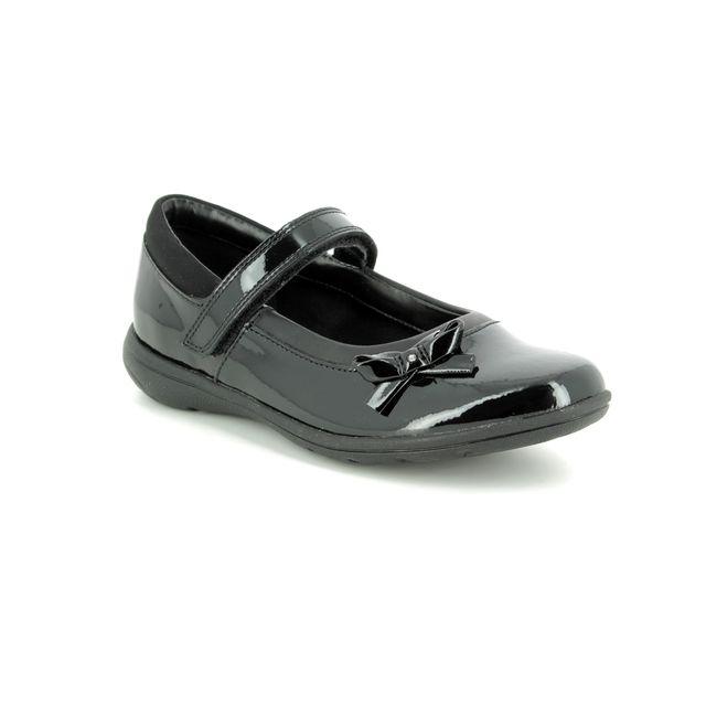 Clarks Venture Star J G Fit Black patent school shoes