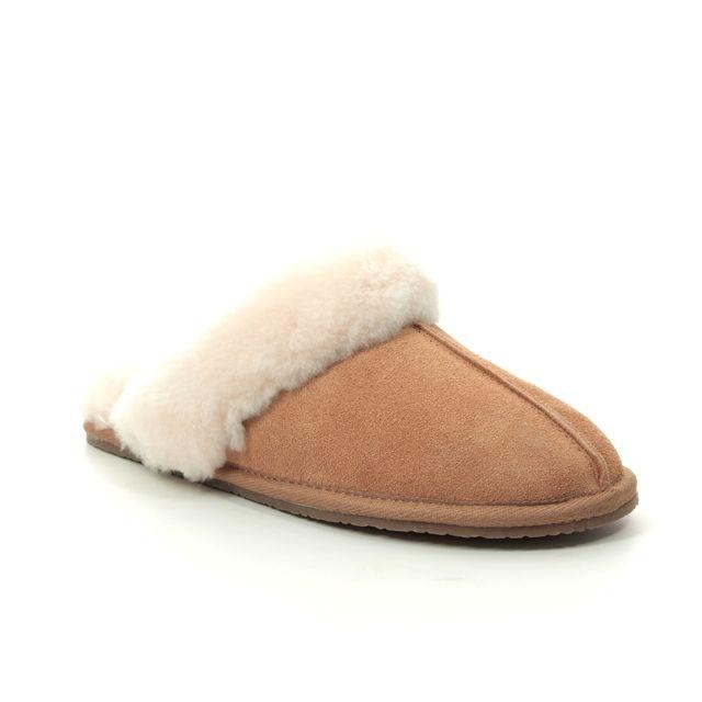 Clarks Slippers - Tan suede - 225314D WARM GLITZ
