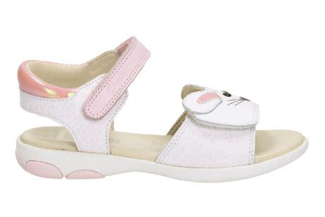 Clarks Wiggle Tail In F Fit White multi sandals
