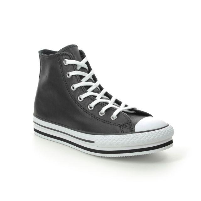 Converse Trainers - Black leather - 666391C/002 PLATFORM HI YTH