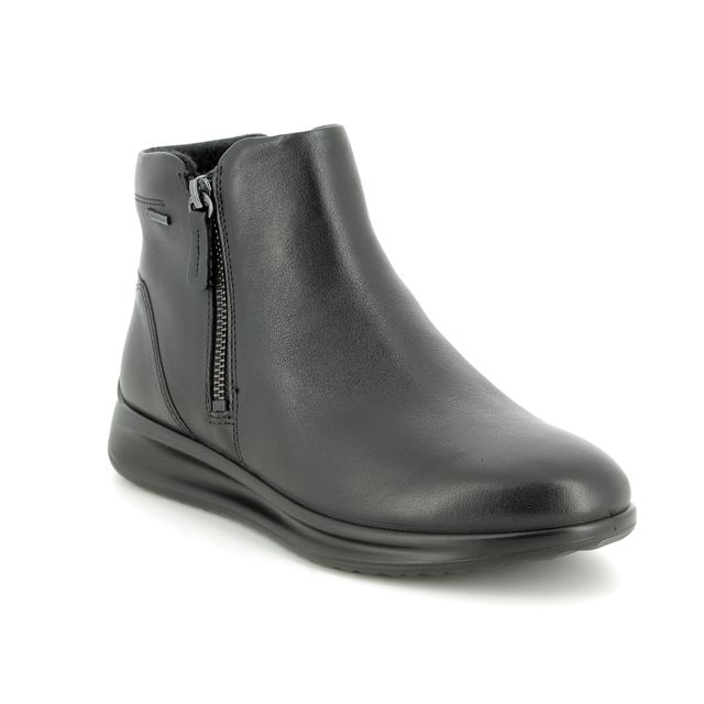 ECCO Ankle Boots - Black leather - 207083/01001 AQUET ZIP GORE-TEX