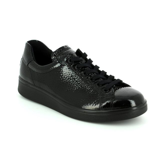 ECCO Soft 4 218033-01001 Black patent lacing shoes