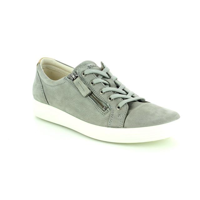 ECCO Trainers - Grey nubuck - 430853/02539 SOFT 7 LACE ZI