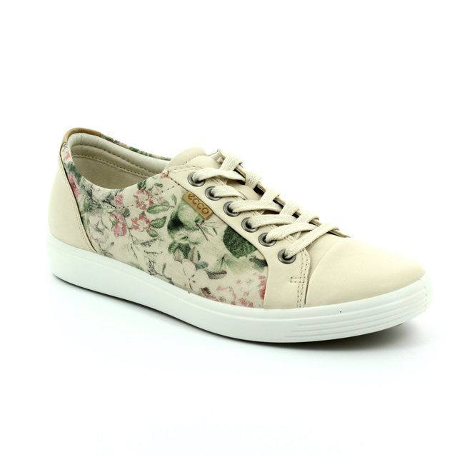 ECCO Soft 7 Ladies 430003-50471 Beige multi lacing shoes