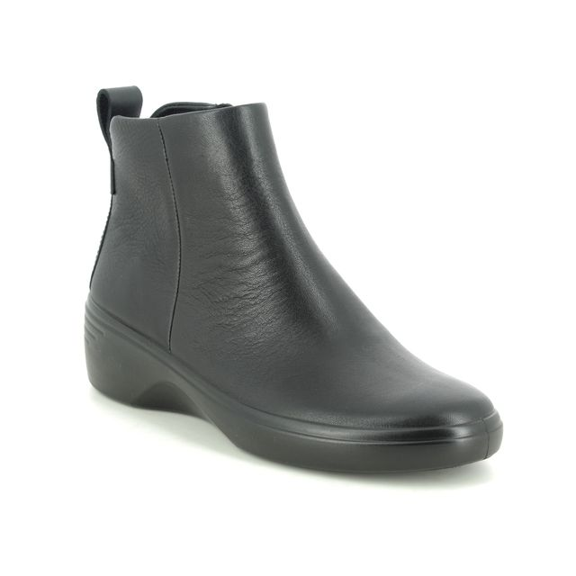 ECCO Ankle Boots - Black leather - 470933/51052 SOFT 7 WEDGE BOOT