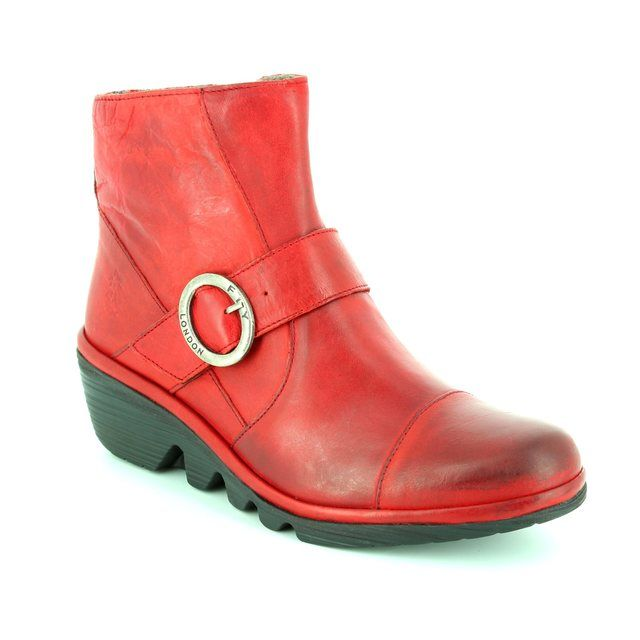 Fly London Wedge Boots - Red - P500655 PAIS 655