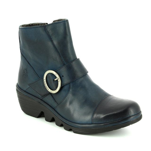 Fly London Wedge Boots - Blue - P500655 PAIS 655