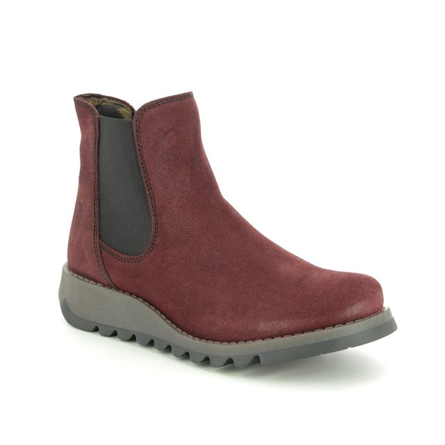 Fly London Salv P143195-031 Red suede Chelsea Boots